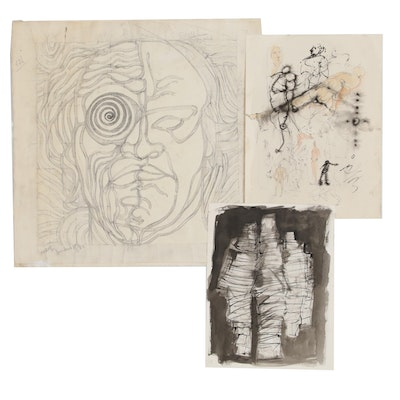 John Tuska Mixed Media Figural Sketches and Studies, 1980s