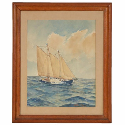Alton L. Grey Watercolor Painting of Sailboat on the Water, 20th Century