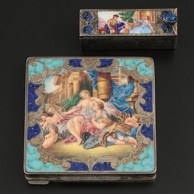Italian 800 Silver and Enamel Compact and Lipstick Tube, Mid-20th Century