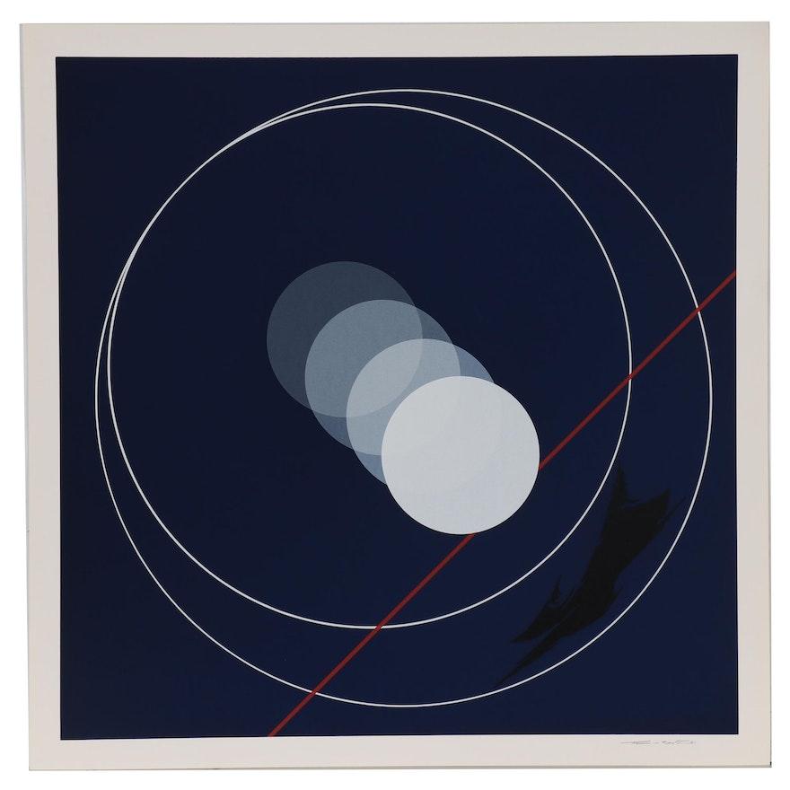 Thomas W. Benton Serigraph of Circle Abstraction, 1981