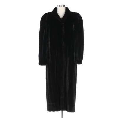 Ranch Dark Mink Fur Coat with Banded Cuffs from Kotsovos