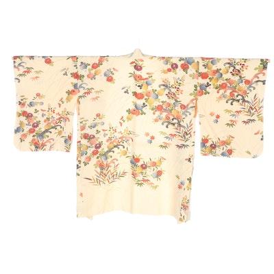Japanese Textured Silk Haori with Multicolored Foliate Motif