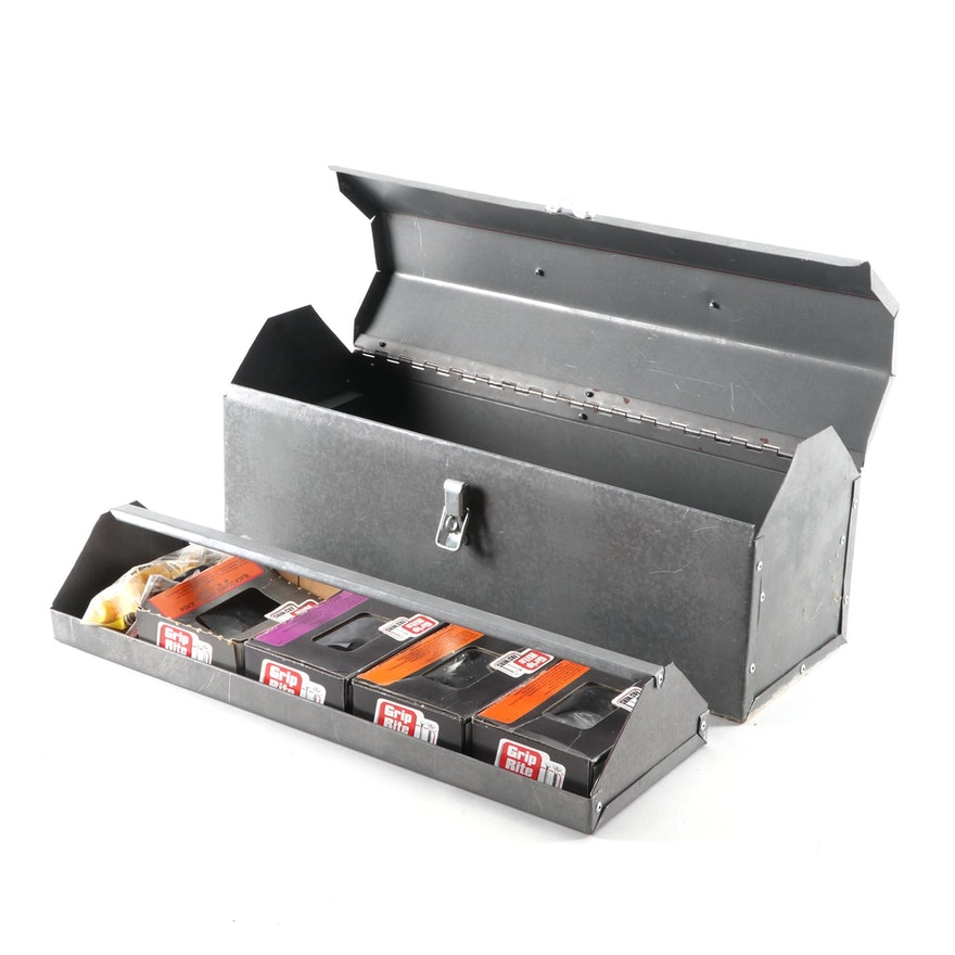 Metal Toolbox with Tools Including Hammer, Screwdrivers, Wrenches, and More