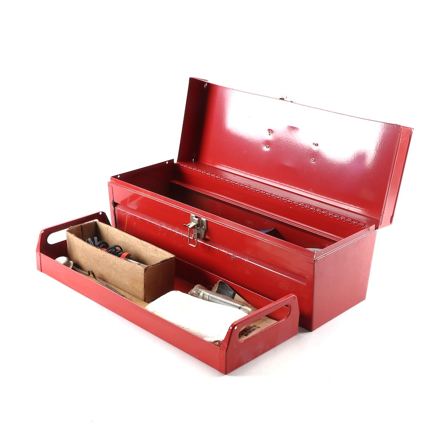 Metal Toolbox Including Soldering Iron and Accessories