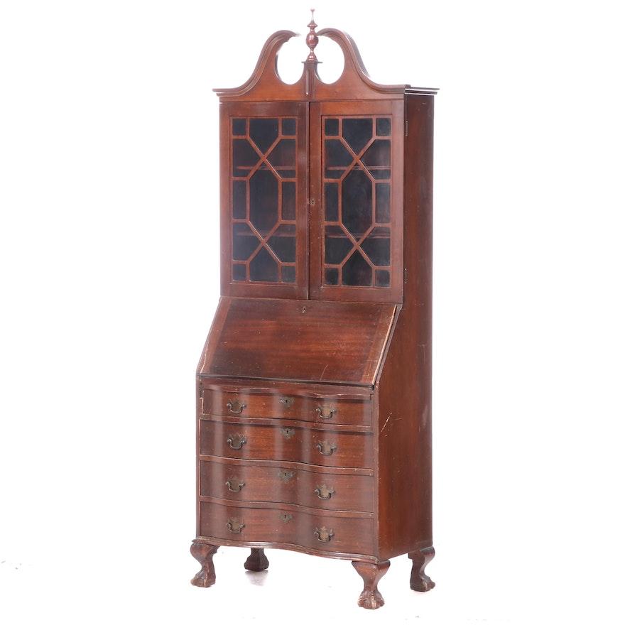 Chippendale Style Mahogany Secretary Bookcase, 20th Century