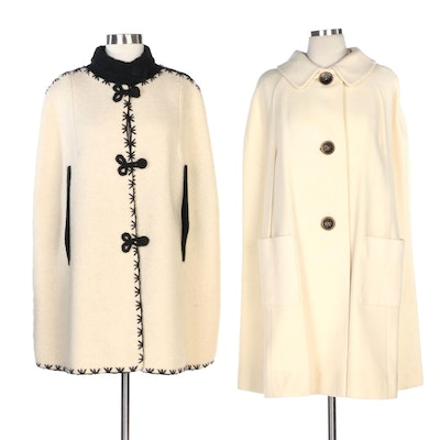 El Greco Embroidered and Franklin Simon Herringbone Wool Capes, Vintage