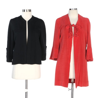 Jenny Red Terry Cloth Jacket and Gloria Knitwear Black Cardigan, Vintage
