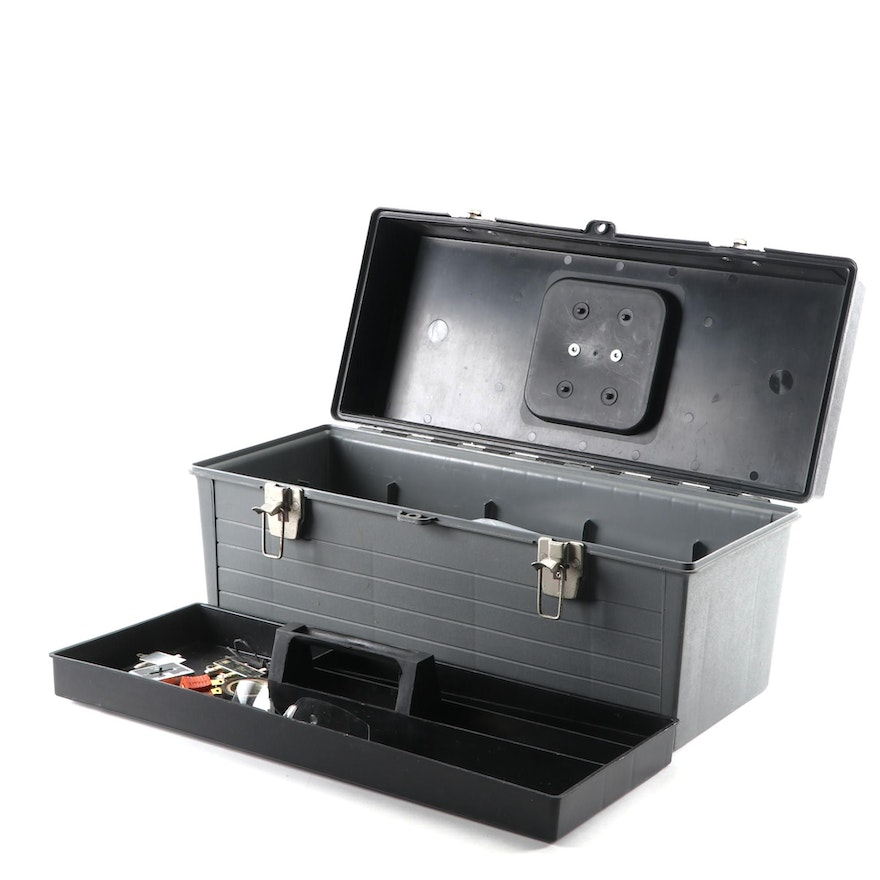 Popular Mechanics Plastic Tool Box with Saws, Nails, and More