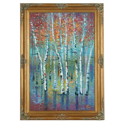 "Thea Mamukelashvili Abstract Landscape Oil Painting ""Birch Trees"""