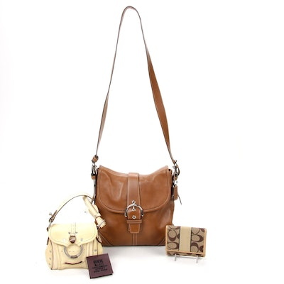 Coach Leather Crossbody Bag and Monogram Wallet with Ruehl Mini Purse