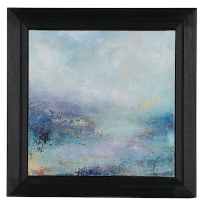 "Sarah Brown Abstract Landscape Acrylic Painting ""Cool Quietude"""