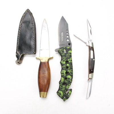 Pakistani Fixed Blade Knife with Other Pocket Knives