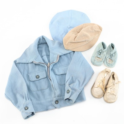 Boys' Light Blue Jacket with Beige and Blue Hats and Shoes, Vintage