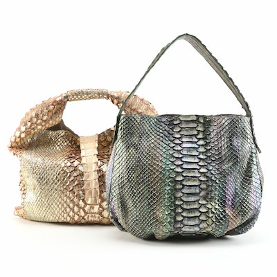 Silvano Biagini Python Skin Hobo Bags in Iridescent Green and Gold Metallic