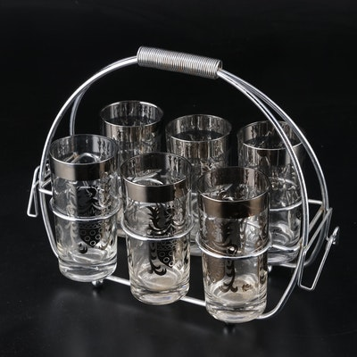 Mid Century Modern Kimiko Highball Tumblers with Caddy
