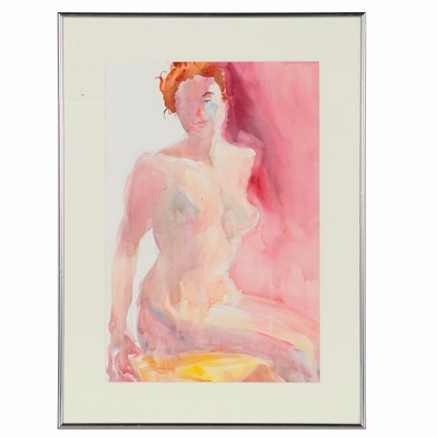 Jacqueline Saunders Figural Watercolor Painting of Female Nude