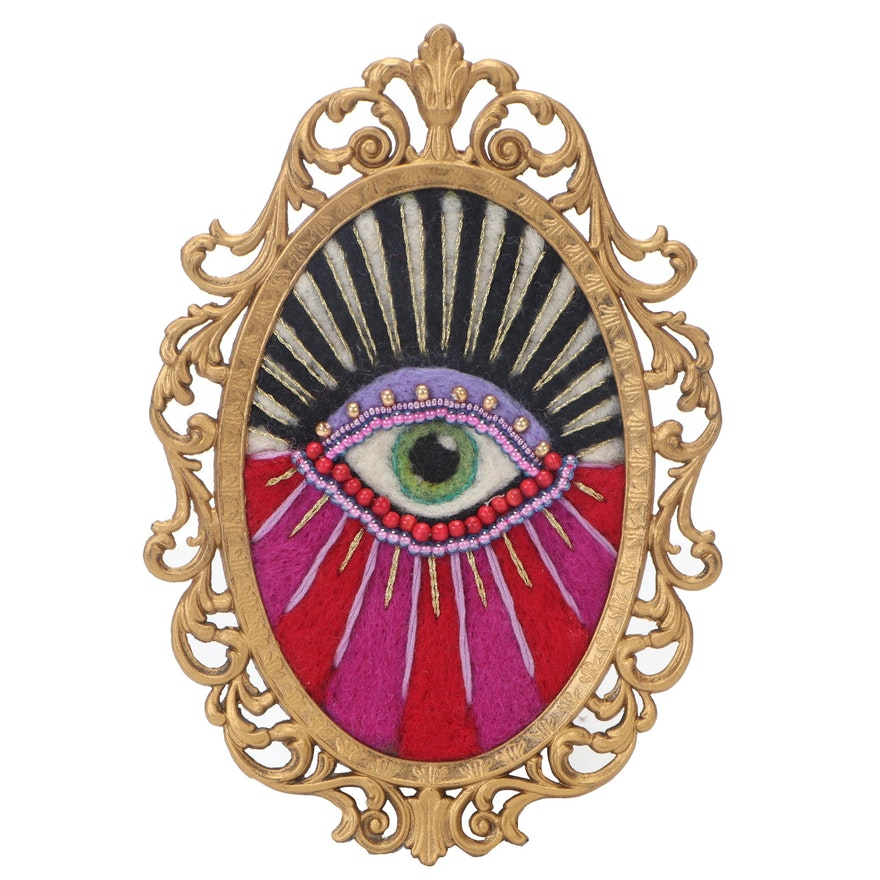Sarah Miller Mixed Media Fiber Art of Mystic Eye
