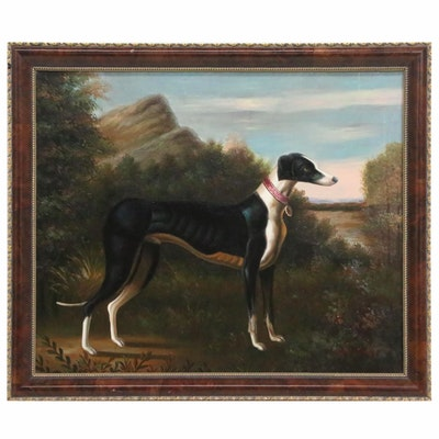 John Gray Canine Portrait Oil Painting of Greyhound Dog, 20th Century