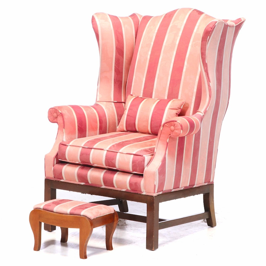 Chippendale Style Upholstered Mahogany Wingback Armchair Plus Walnut Footstool