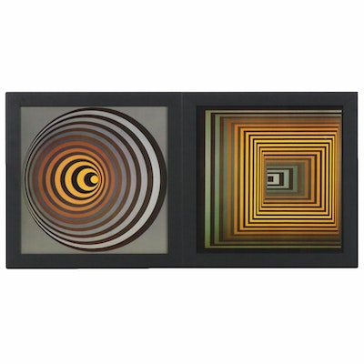 Op Art Offset Lithographs after Victor Vasarely, circa 1970