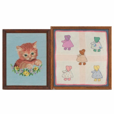 Framed Appliqué and Needlepoint Panels