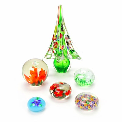 Art Glass Christmas Tree with Millefiori and Other Sphere Paperweights
