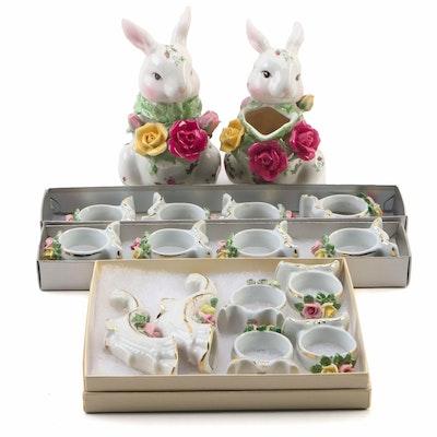 "Royal Albert ""Old Country Rose"" Dresden Cornucopia Bud Vases and Napkin Rings"