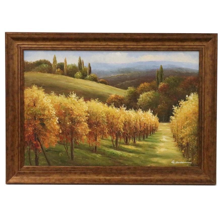 Autumn Orchard Landscape Acrylic Painting, 21st Century