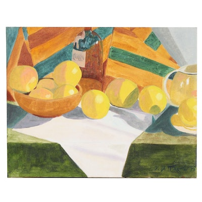Still Life Oil Painting with Lemons, 1993