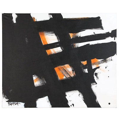 "Robbie Kemper Abstract Acrylic Painting ""Orange with Black and White"""