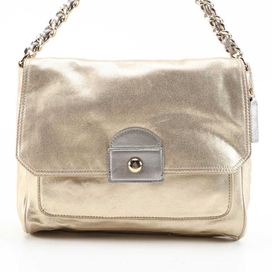 Cole Haan Flap Front Two-Way Shoulder Bag in Metallic Leather