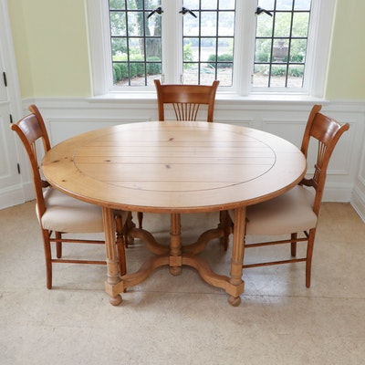 "Milling Road ""Cotswold"" Pine Dining Table with Wheat Sheaf Back Dining Chairs"