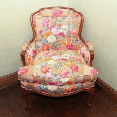 French Provincial Carved Wood Armchair with Down Seat