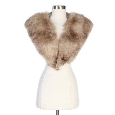 Fox Fur Stole with Wool Collar, Vintage