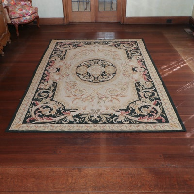 6' x 7' Hand-Stitched Aubusson Style Needlepoint Area Rug, 20th Century
