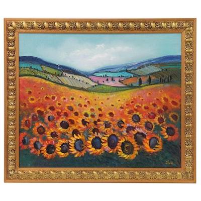 """Thea Mamukelashvili Abstract Landscape Oil Painting """"Sunflower Field"""""""