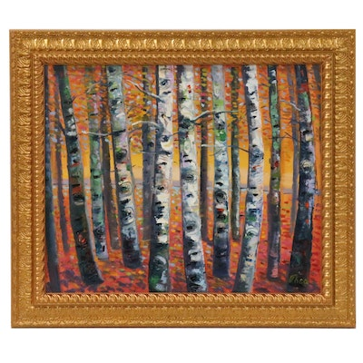 "Thea Mamukelashvili Landscape Oil Painting ""Birch Trees"""