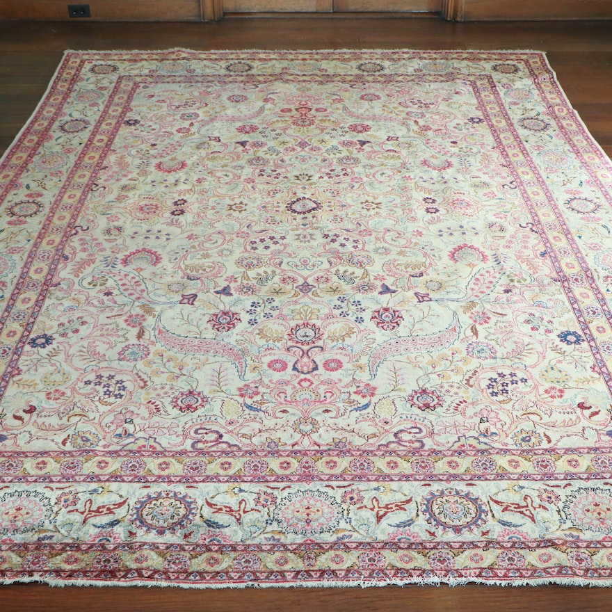 8' x 11' 5 Hand-Knotted Persian Silk and Wool Area Rug