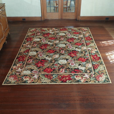 6' 5 x 8' 10 Handmade Wool Floral Needlepoint Area Rug, 20th Century