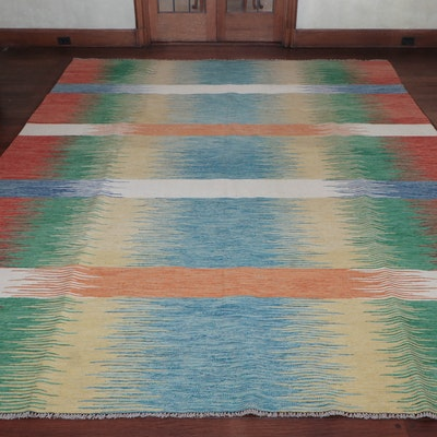 8' x 12' 1 Handwoven and Brightly-Colored Wool Area Rug, 20th Century
