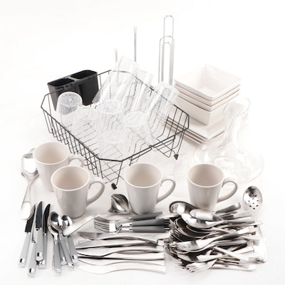Ceramic Dinnerware with Stainless Steel Utensils and Kitchen Accessories