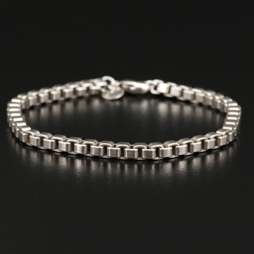"""Tiffany & Co. """"Venetian"""" Sterling Silver Box Chain Bracelet"""