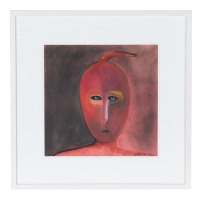 Carol LaRoche Abstract Portrait Pastel Drawing, 1992