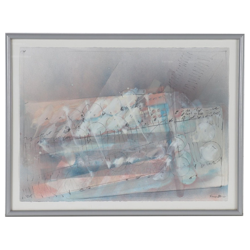 """Abstract Mixed Media Painting """"Spine"""", 1980"""