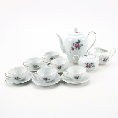 Royal Crown Porcelain Six Piece Tea Set, Mid to Late 20th Century