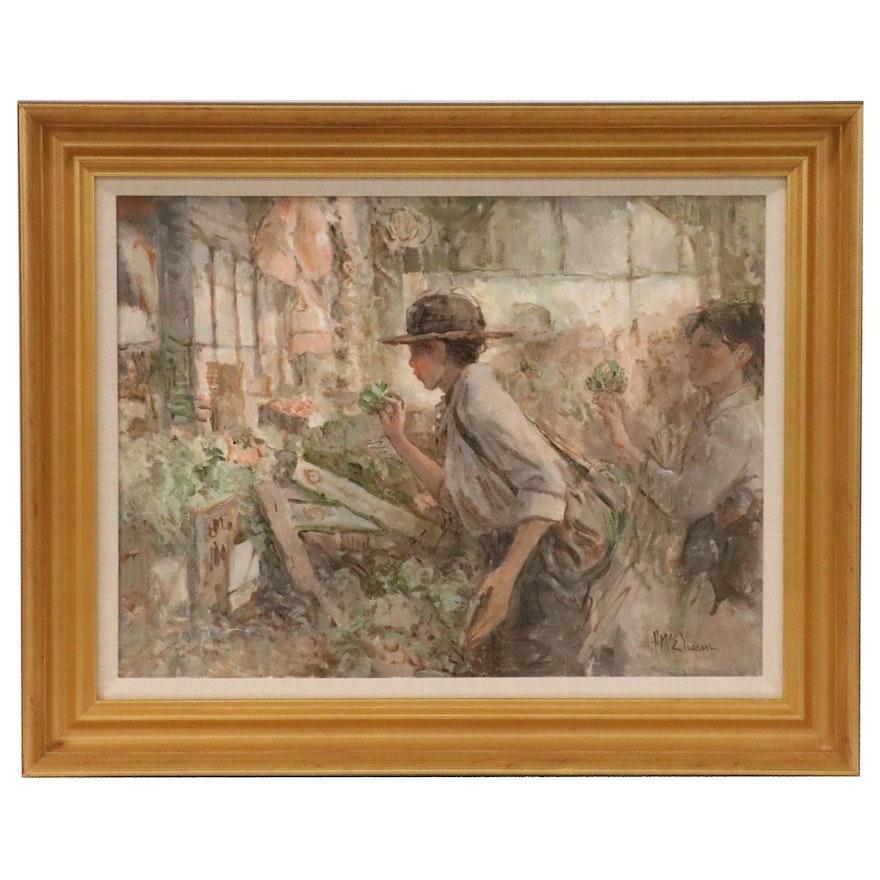 "Frank McElwain Oil Painting ""Artichoke Hunter"""