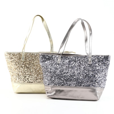 Nine West Sequined and Metallic Canvas Totes in Gold and Silver