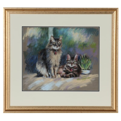Dodie Rufner Pastel Drawing of Two Cats