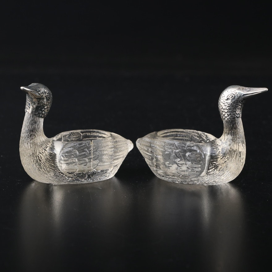 Pair of Continental 800 Silver and Glass Goose Salt Cellars