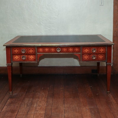 Louis XVI Style Leather Top Marquetry and Ormolu Partners Desk with Side Leaves